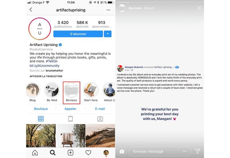 avis client instagram restaurant