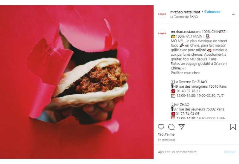 photo créative restaurant instagram